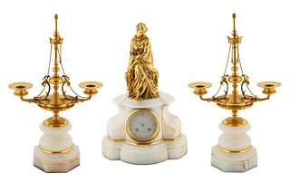 AN ORMOLU-MOUNTED WHITE MARBLE MANTLE CLOCK AND PAIR OF CANDLESTICK GARNITURES, CIRCA 1870