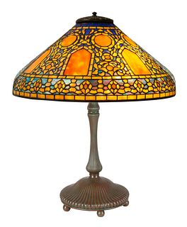 """A RARE TIFFANY STUDIOS LEADED GLASS AND BRONZE """"RUSSIAN"""" TABLE LAMP, NEW YORK, 1910"""