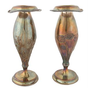 PAIR OF FLORAL SILVER CANDLEHOLDERS, GORHAM, PROVIDENCE, RHODE ISLAND, 1879