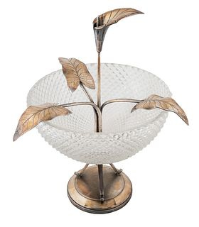 AN AMERICAN SILVER-PLATED LILY DISH, MERIDEN B. COMPANY, MERIDEN, CONNECTICUT, 1847-1855