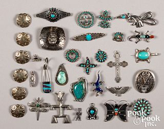 Large group of Native American Indian jewelry