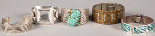 Five Native American Indian bracelets