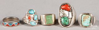 Eleven Native American Indian rings