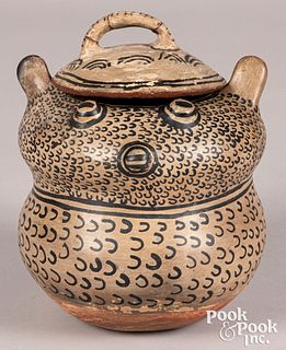 Zuni Indian pottery owl, with paired lid