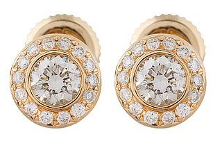 18KT GOLD DIAMOND EARRINGS, HARRY WINSTON, NEW YORK, CONTEMPORARY