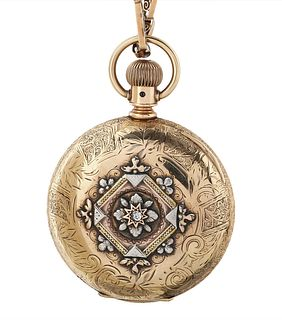 AN ELGIN NATIONAL WATCH 14K GOLD AND ENAMEL HUNTER CASE KEYLESS LEVER POCKET WATCH AND CHAIN, MOVEMENT NO. 3'575'000, CASE NO. 2'049'317, 1890