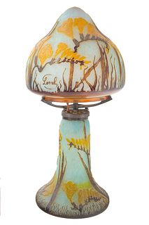 A FRENCH CAMEO GLASS TABLE LAMP, LAVAL, CIRCA 1920S