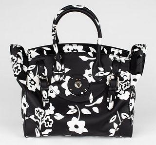 Ralph Lauren Black & White Floral Ricky 33 Handbag
