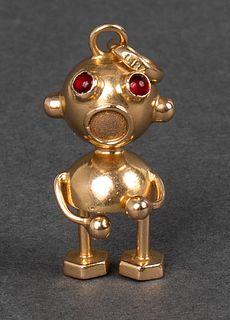 Vintage 18K Yellow Gold Robot Pendant