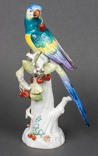 "Meissen ""Parrot w Cherries"" Porcelain Figurine"