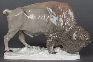 """Meissen """"Bison"""" Porcelain Figurine"""