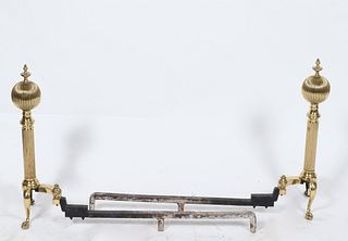 Regency Manner Brass Andirons, Pair