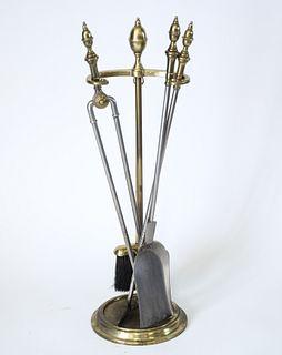 Regency Manner Brass Fireplace Tool Set