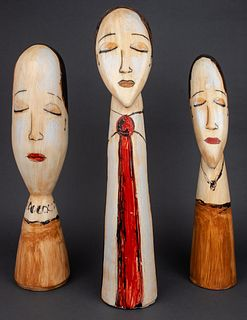Outsider / Folk Art Mexican Busts Of Ladies, 3