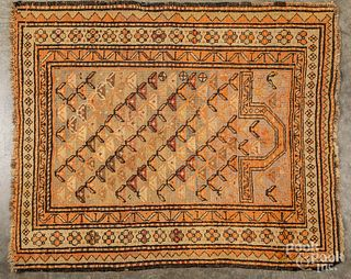 Caucasian prayer rug and throw rug, early 20th c.