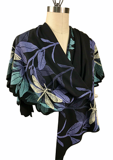 Black, violet and turquoise wrap with plants and dragonfly's