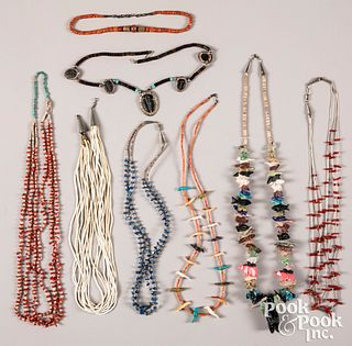 Eight Native American Indian necklaces