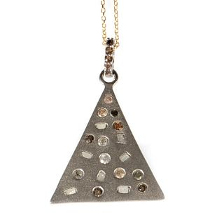 Diamond, blackened silver, 14k gold pendant with chain