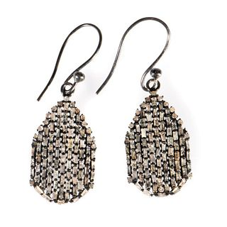 Diamond and blackened silver drop earrings