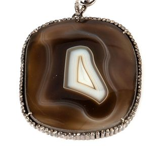 Agate, diamond and blackened silver pendant and chain