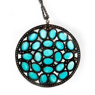 Turquoise, diamond and blackened silver pendant