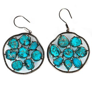 Turquoise, diamond, and blackened silver earrings