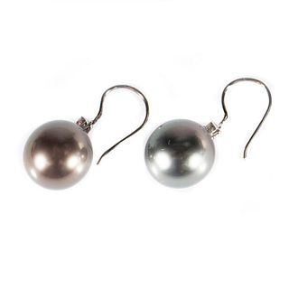 Tahitian cultured pearl, diamond, 14k gold earrings