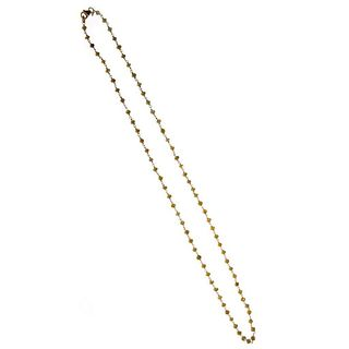 Faceted colored diamond bead, 18k gold necklace