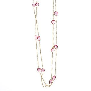 Pink sapphire and 14k gold station necklace