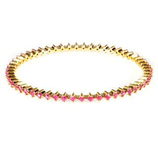 Ruby and vermeil silver bangle bracelet