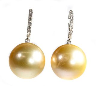 Golden South Sea cultured pearl, diamond earrings