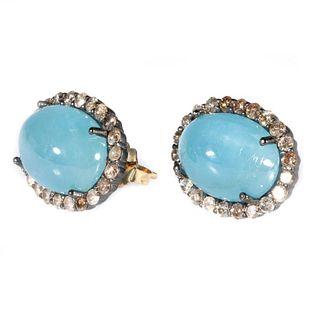 Aquamarine, diamond, silver, 18k gold earrings