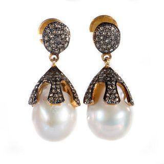 Freshwater pearl, diamond, vermeil silver earrings