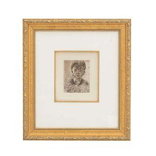 Paul Cézanne. Portrait de Jeune Fille. Firmado en placa. Grabado, edición póstuma. Enmarcado. 12 x 9 cm.