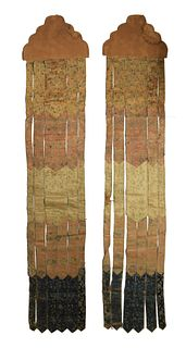 Pair of Chinese Silk Banners, 18th Century