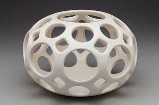 Pierced White Ceramic Openwork Orb Candle Holder