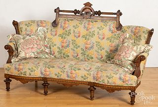 Pair of Eastlake parquetry inlaid walnut sofas, 7