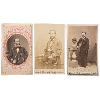 Three CDVs of Identified Navy Officers, Incl. Charles Boggs, USS Varuna, and Henry Wade and Burdett Gowing, USS Kennebec