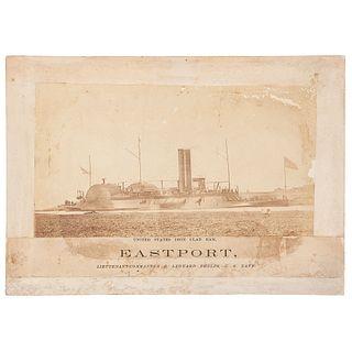 USS Eastport, Albumen Photograph of Brown Water Navy Ironclad Gunboat