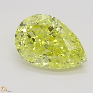 4.68 ct, Intense Yellow, IF, Pear cut Diamond. Appraised Value: $449,200