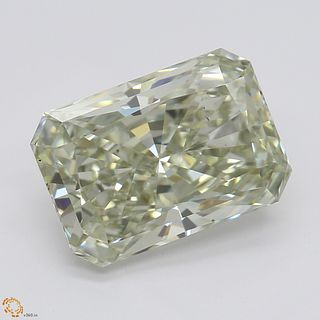 3.01 ct, Lt. Gray Green Yellow, VS2, Radiant cut Diamond. Appraised Value: $85,400