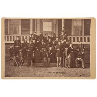 George A. Custer with Officers and their Families at Fort Lincoln, Cabinet Card by O.S. Goff