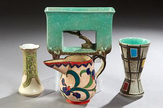 Group of Four Ceramic Items, consisting of a Mid-Century Modern German Glazed Waisted Vase; a Roseville #1054 Twig Pattern planter; a French Provincia