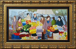 """Itzchak Tarkay (1935-2012, Israeli), """"The Flower Market,"""" 20th c., serigraph, presented in a wide gilt composition frame, H.- 17 1/2 in., W.- 33 3/4 i"""