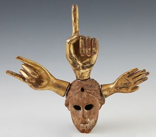 """Pedro Friedeberg (1936-, Mexican), """"Hands and Head,"""" 20th c., miniature carved gilt wood sculpture, signed on the back of the proper left hand, H.- 8"""