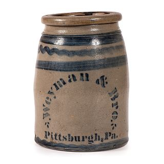 A Two Quart Cobalt-Decorated Pittsburgh Stoneware Jar