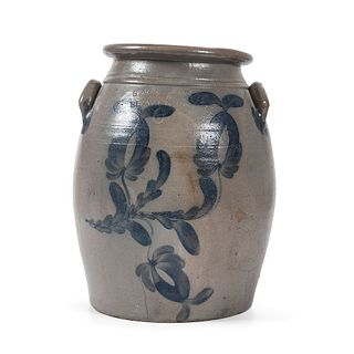 A Scarce Six Gallon Stoneware Crock with Cobalt Decoration