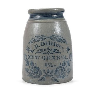 A Two Quart Cobalt Stenciled Pennsylvania Stoneware Canning Jar