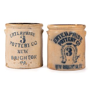 Two Three Gallon Enterprise Pottery Stoneware Crocks
