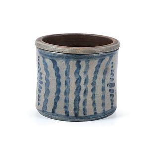 A Rare Diminutive Pennsylvania Striped Stoneware Butter Tub